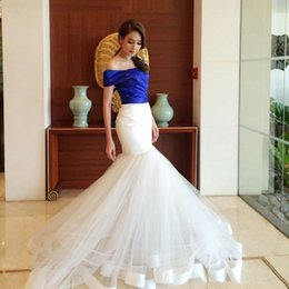 Wholesale Long Pleated Skirt Pattern - Royal Blue White Contrast Mermaid Pageant Dresses 2017 New Off Shoulder Long Sleeves Tulle Skirt Evening Dress Party Gowns with Sweep Train