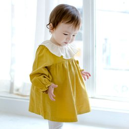 Wholesale Baby Doll Sleeves Dress - New Baby Girls Dresses Long Sleeve Doll Collar Dress Children Clothing cotton Princess Girl Dress Yellow Grey Navy Blue Party Dress A7202