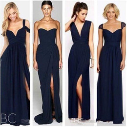 Wholesale new chiffon china - 2018 New Dark Navy Blue Bridesmaid Dresses with Split Chiffon Beach Different Style Junior Bridesmaids Dress Custom Make Cheap Gowns China