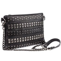 Wholesale Designer Bags Studs - Wholesale-Stud Envelope Clutch Luxury Women Leather Handbags Designer Rivet Evening Bag Punk Chain Hand Bag Small Cross Body Bag G40-745