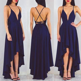 Wholesale Chiffon High Low Prom Dress - 2017 Sexy Spaghetti Straps High Low Prom Dresses A Line Sleeveless Deep V Neck Simple Evening Gowns Homecoming Dresses Criss Cross Back