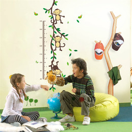 Wholesale Height Stick - pvc fashion Creative DIY wall sticker for child room Carved Removable Height stickers Forest monkey Decorating cute animal 2017 Wholesale