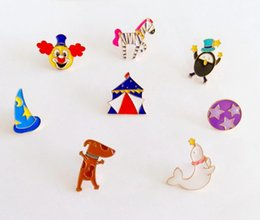 Wholesale Zebra Costumes For Girls - Wholesale- Miage Free shipping Cartoon Cute Circus Clown Zebra Brooch Pins Charm Costume Fashion Jewelry wholesale For Women Girl Gift