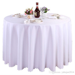 Wholesale Waterproof Cotton Tablecloth - 1 pieces White Round Polyester Wedding Tablecloths Table Covers Table Cloth Decorations Banquet Home Outdoor High Quality