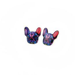 Wholesale Earring Three Color - Fashion Colorful Animal Oil Stud Earrings French Bulldog Earring Puppy Dog Stud Earrings for Women Three Color For Choose