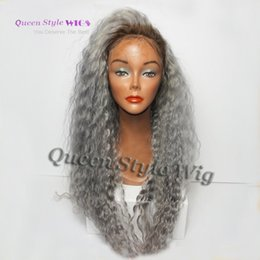 Wholesale Sexy Women Wig - Sexy Grey Wigs 1b  Grey Glueless Synthetic Lace Front Wig loose Curly Heat Resistant hair Wigs For Black Women Free Shipping