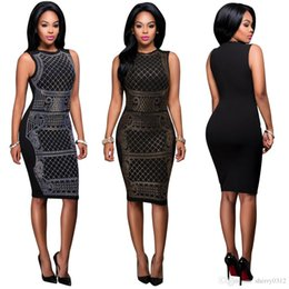 Wholesale Dresses For Clubs - Sexy Hot Drilling Dress 2017 New Vestidos Hot Drills Tight Sleeveless Bodycon Bandage Dress For Women Black Club Wear Party Dresses Sundress