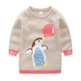 Wholesale Penguin Balloons - 2017 kids clothes Girl's cartoon penguin balloons jacquard collar hair dress