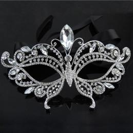 Diamantes de imitación de lujo online-2017 Silver Tone Venetian Nupcial Mascarada Rhinestone Crystal Eye Mask Máscara de Halloween Fiesta de disfraces Máscara