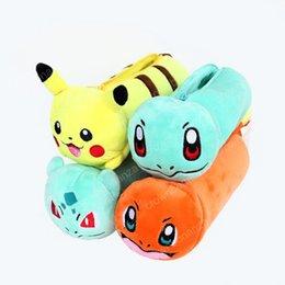 Wholesale pokemon coins - 4 Design Poke Pencil Bag with Zipper Cartoon Coin Purse Case Plush Bag Gift for Baby Kids Children