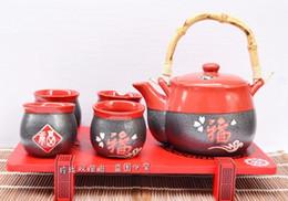 tetera de corea Rebajas Juego de té de cerámica japonesa y el juego de filtro de viento de Kung Fu té tetera Tetera coreana bajo vidriado cerámica gruesa