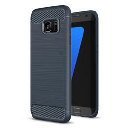 Wholesale Carbon Fibre Brush - Super Armor Carbon Fibre Brushed Soft TPU Rubber Case For Samsung Galaxy S8 plus S6 S7 Edge C9 Pro J5 J7 Anti-shock