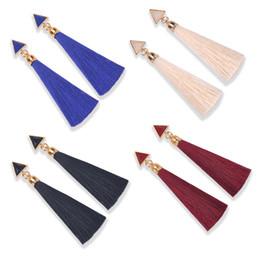 Wholesale Silk Jewellery - Fashion Silk Tassel Ear Drop Jewellery Vintage Party European Style Triangle Alloy Tassels Earrings Jewelry 4 Color B748L