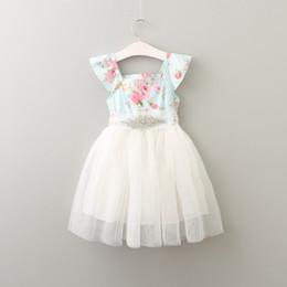 Wholesale Dress Sashes Diamonds - New Baby Girls Lace tutu Dresses Kids Girls Print Floral Dress with Diamond Sash Babies Princess Party Dress 2017 Babies clothes