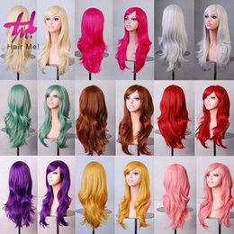 Wholesale Harajuku Wig Purple - Colorful Harajuku Anime Cosplay Wig Long Curly Wavy Synthetic Hair Wigs Red Blonde Purple Party Women Sexy Costume Pelucas