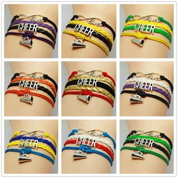 Wholesale Heart Cheer - 9 Styles Infinity Charm Bracelets Sports Multilayer Woven Leather Bracelets Antique Cross Anchor Character CHEER Diy Charm Bangles