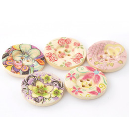 Wholesale Wood Buttons 25mm - 25mm-50pcs mixed natural color printing color pattern button wide circular depression four hole wooden button wood button jewelry