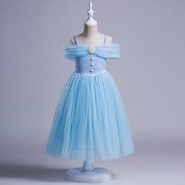 Wholesale Fairytale Dresses - Girls Princess Dress Summer Pearl Tulle Children Party Dresses Europe Fairytale Princess Kids Suspender Dresses Girl Pageant Dress C173