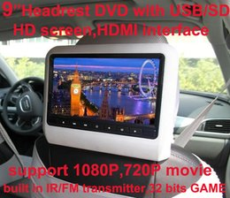 Wholesale Car Sd Speaker - Universal 9 inch car clip on headrest DVD player car dvd with USB SD,Bracket,HDMI,32 bits Game,IR,FM transmitter,HD screen,built in speaker