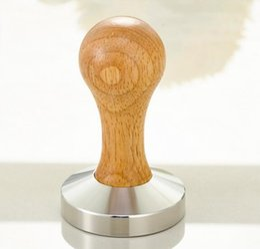 Wholesale Grinders Coffee - Hot Stainless Steel 58mm wood handle Coffee Tamper Barista Espresso maker Grinder Handmade
