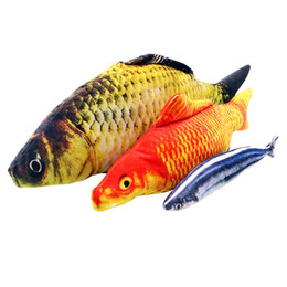 Wholesale Fishing Stuff - Cat Favor Colorful Fish Dog Toy Plush Stuffed Fishes Shaped Cats Toys Puppy Lovely Scratching For Pet Dogs Chew Training Product Player