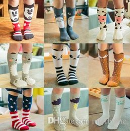 Wholesale Totoro Girl - Baby Socks INS Fox Stockings Toddler Cartoon Cotton Socks Girls Cute Mickey Totoro Flag Knee High Leggings Fox Stripe Panda Leg Warmers H4