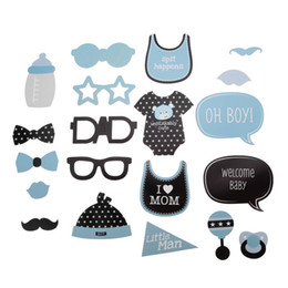 Wholesale Cute Boys Photos New - New Cute Baby Shower 25pcs Its A Boy Girl Photo Booth Props Birthday Decoration Blue Baptism Party PhotoBooth Supplies