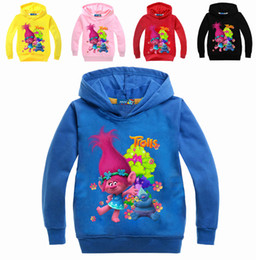2017 vêtements les plus récents Les plus récents sweats à capuche Moana Trolls Cartoon Moore Boys Girls Zipper Sweatshirts 5 couleurs 7 Designs Children Autumn Spring Clothes promotion vêtements les plus récents