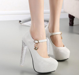 Wholesale Sexy Silver Prom Heels - 2017 Wedding Bridal Shoes Sexy Womens Platforms Thick High Heels Pumps Crystals Round Toe Prom New Arrival 13cm Silver