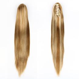 """Perucas de cabelo sintéticas ponytails on-line-XT030 21 """"cabelo reto rabo de cavalo garra sintética peruca 5 cor vermelho marrom preto cabelo loiro cor"""