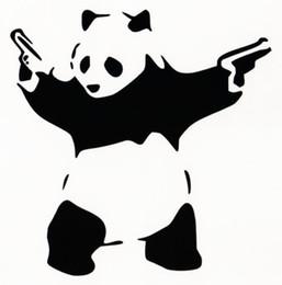 Wholesale Macbook Vinyl Decal - Vinyl Decal Car Sticker PANDA WITH GUNS Car Window Wall Bumper Shooting Panda Macbook BANKSY ART Waterproof fast shipping