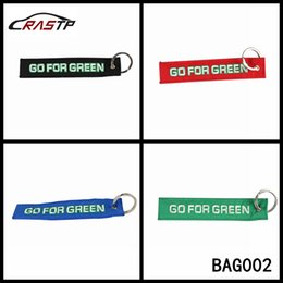 Wholesale Race Rings - RASTP -Free Shipping Fashion Racing Souvenir Keychain with Stainless Steel Ring Go for Green Creative Car Tuning LS-BAG002