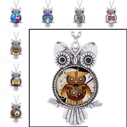 Wholesale steampunk owl pendant - Ancient Silver Owl Glass Cabochon Necklace Birds pendants Dome Steampunk Jewelry for Women Jewelry Gift