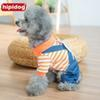 Wholesale Rabbit Clothing For Dogs - Hipidog 2017 New Arrival Free Shipping Stripe Four Foot Dog Denim Rompers Clothes for Dogs Cute Rabbit Strap Pants Jumpsuit Apparel