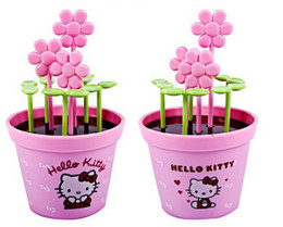 Wholesale Novelty Plant Pots - Wholesale- Novelty 13*7CM Potting Plant Hello Kitty Safe Healthy Kitchen Fruit Forks Toothpick Fruit Pick For Fruit Compote Forks