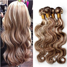 human hair extensions blonde highlights Coupons - Piano Mixed Color Human Hair Bundles 3Pcs Lot Light Brown Blonde Highlight Piano Color #8 613 Ombre Peruvian Human Hair Weaves Extensions