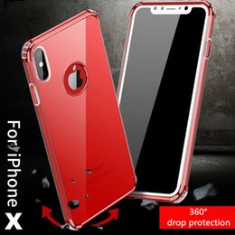 Wholesale Light Up Phone Cases - Luxury Best Plating Border Four Weeks Airbag Protector Soft TPU LED Flash Light Up Remind Incoming Call Phone Case for iphone x