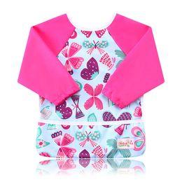 Wholesale Bibs Baby Long Sleeve - Ohbabyka Infant Kids Baby Unisex Feeding Bibs Baby Waterproof Long Sleeve Baby Feeding Clothes for Toddler 6-24Month 2PCS Pack