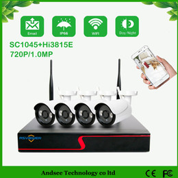 Wholesale Surveillance Camera Sets - 4CH IR HD Home Security Wireless NVR Kits IP Camera System 720P CCTV Set Outdoor Wifi Cameras Video NVR Surveillance CCTV KIT