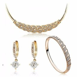 Wholesale Nickel Lead Free - 18K Gold Plated Austrian Crystal made with Swarovski Elements Statement Moon Necklace Earrings Bangle for Women Lead Nickel Free