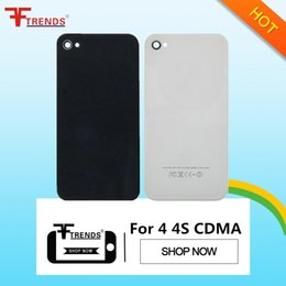 Wholesale Flip Door - Back Glass Battery Housing Door Back Cover Replacement Part with Flash Diffuser for iPhone 4 4 CDMA 4S Black White
