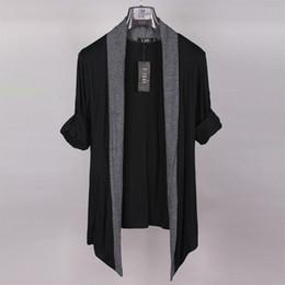 Wholesale Cardigan Big Size - Wholesale- Plus size big size male european version of the long-sleeve no button cardigan thin 4XL 5XL 6XL 7XL 8XL