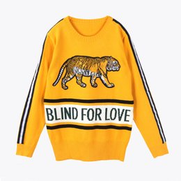 Wholesale Heavy Natural - Heavy end tiger Embroidered Sweater dark green yellow 2 colors women loose pullover handsome knit top jumnper long-sleeve