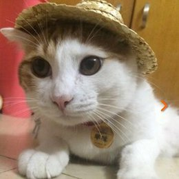 Wholesale Cute Cat Style - Dogs Cats Woven Straw Hat Pet Supplies Mexican Style Hats Cute Look Hawaiian Pets Accessories For Dog Cat SL Sizes Available Wholesale
