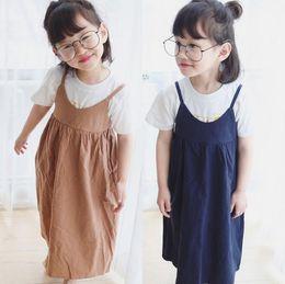 Wholesale Baby Girls Navy Clothes - 2017 Spring Summer Baby Girls Cotton Line Dress Kids Solid Color Korea Fashion Slip Dress Princess Casual Dress Children Clothing Navy Khaki