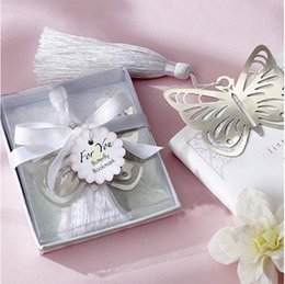 Wholesale Metal Butterfly Boxes - Wholesale-1Pcs Box Hollow Butterfly Bookmarks Metal With Mini Greeting Cards Tassels Kawaii Stationery Pendant Gifts Wedding Favors K6898
