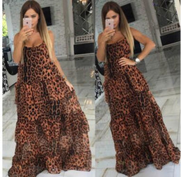 Wholesale Dresses Irregular Leopard - Maxi dresses for women backless leopard print party slip dress fashion European and American style layered irregular club cocktail dress