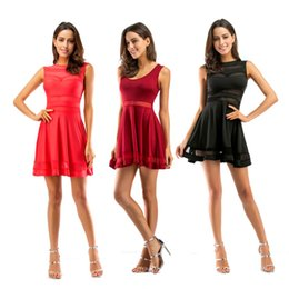 Wholesale Red Mesh Skater Dress - Women's Mesh See Through Sheer Skater Evening Cocktai Party Mini Dress