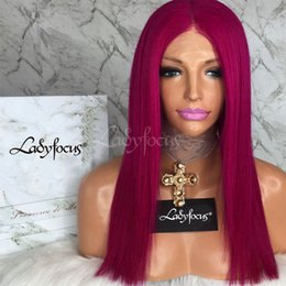 Wholesale Natural Red Hair Wig - Lady Focus Wig Rose Red Full Lace Human Hair Wigs With Baby Hair 180 Density Natural Wave Lace Front Wig 9A Virgin Hair