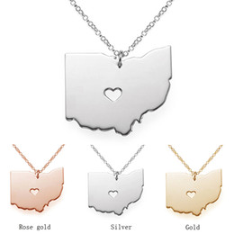 2019 ohio staat schmuck Ohio State Halskette Karte Anhänger Halsketten USA State Anhänger Karte Halskette mit einem Herz handgemachten Schmuck rabatt ohio staat schmuck
